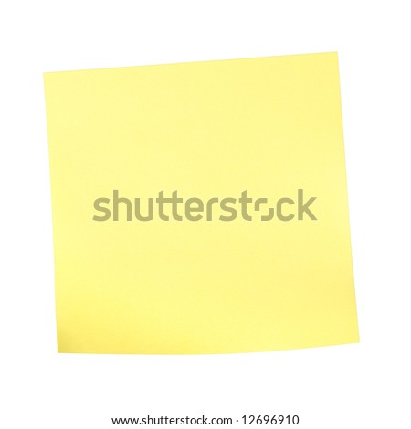 yellow sticky note isolated on white (with clipping path)