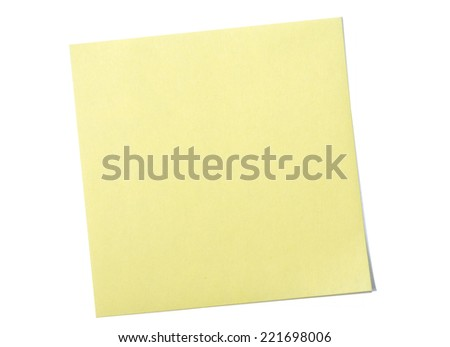 Yellow sticky note on white background - stock photo
