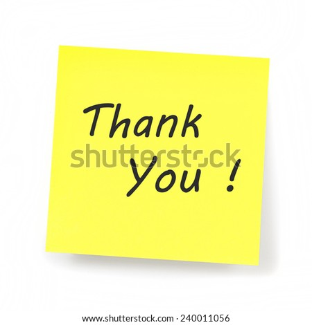 Yellow Sticky Note - Thank You text - stock photo