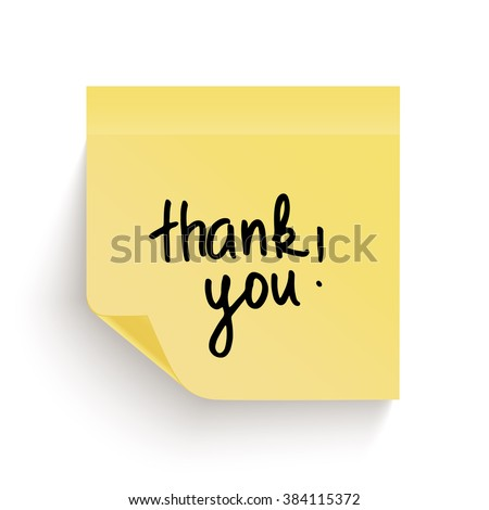 Yellow sticky note with handwritten phrase Thank you isolated on white background. Post it notes. Note paper.