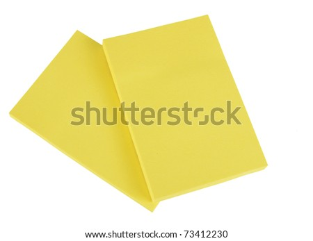 Yellow sticky paper note pads - isolated - stock photo
