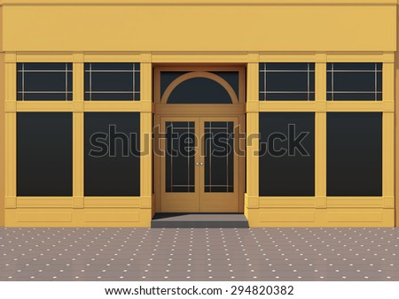 Yellow store with large windows. Classic store facade - stock photo