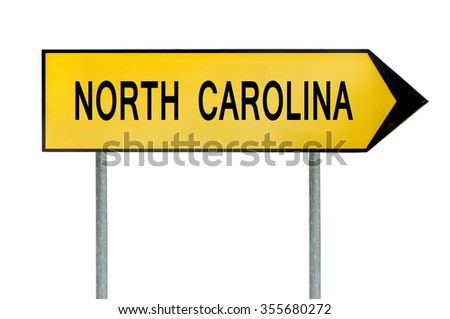 Yellow street concept sign North Carolina isolated on white - stock photo