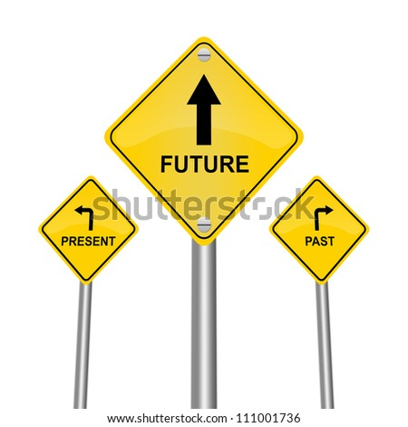 Yellow Street Sign Pointing to Future, Present and Past Isolated on White Background - stock photo