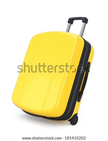 Yellow Suitcase isolated on white. Clipping path - stock photo
