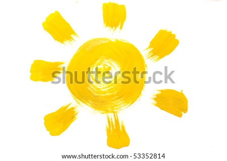 Yellow sun painted on paper by me - stock photo