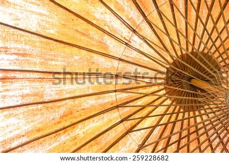 yellow sun umbrella - stock photo