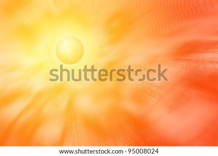 Yellow sun with corona emitting rays, electromagnetic waves, heat and waves of energy - stock photo