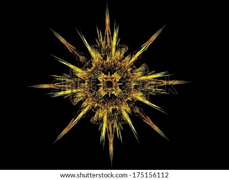 Yellow sunburst fractal abstract background - stock photo