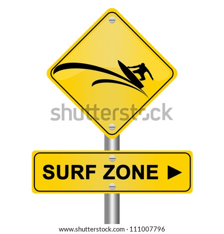 Yellow Surf Zone Road Sign Isolated On White Background