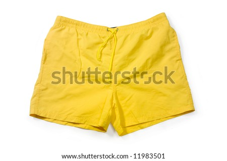 Yellow swimming trunks isolated on white.