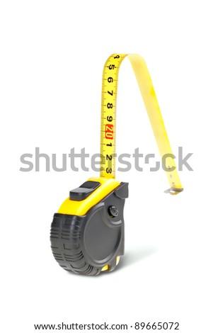 Yellow tape measure isolated on white background,physical incapacity - stock photo