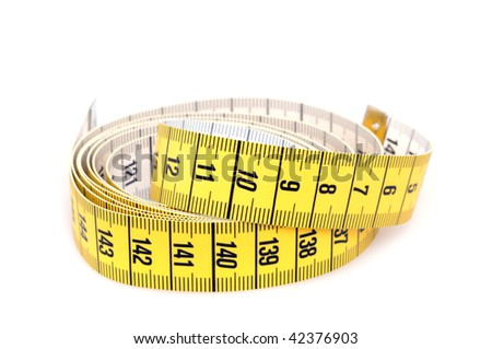 Yellow tape measure on white background