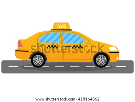 Yellow taxi car on road, taxi icon, call taxi concept, illustration in simple flat design isolated on white background - stock photo