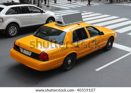 Yellow taxicab  in the streeets of  New York City - stock photo