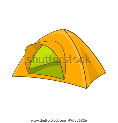 Yellow tent icon in cartoon style on a white background