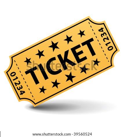 Yellow ticket illustration. - stock photo