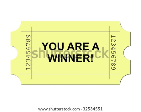 Yellow ticket on white background with sample writing YOU ARE A WINNER