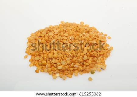 Yellow Toor Dal on an isolated white background, Pulses on a white background