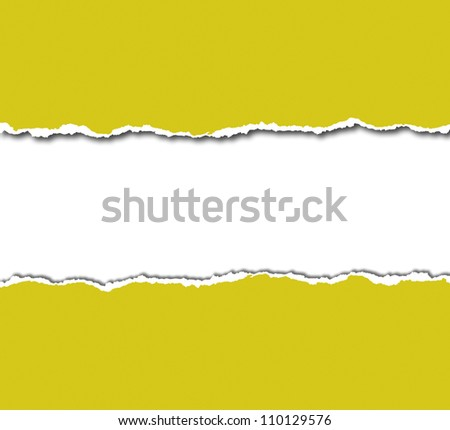 yellow torn paper with white copy space - stock photo