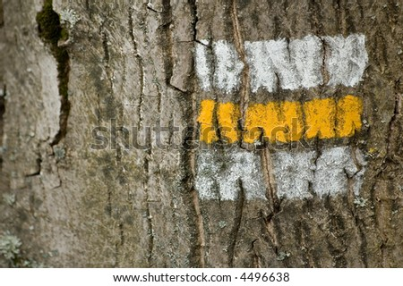 yellow tourist sign - stock photo