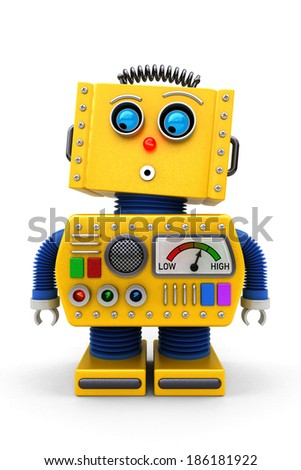 Yellow toy robot is looking surprised onto the floor - stock photo