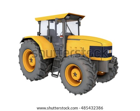 Yellow tractor isolated on white background Computer generated 3D illustration