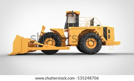 Yellow Tractor side on the white background 3D renderig