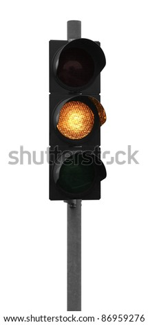 yellow traffic control signal isolated on white