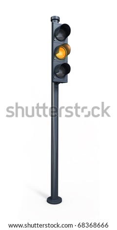 yellow traffic light (clipping path)