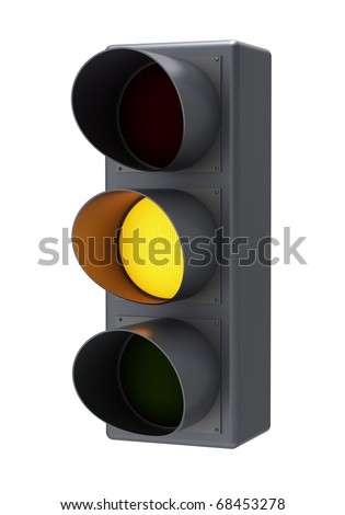 Yellow traffic light. Isolated white background.