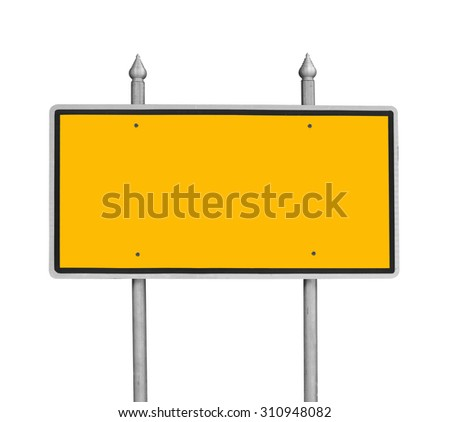 Yellow traffic sign blank for copy space on white - stock photo