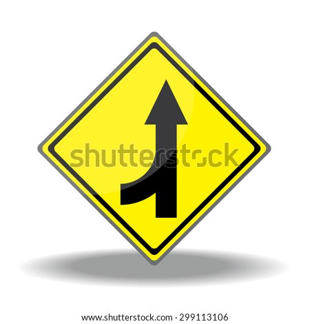 Yellow traffic square shaped Merging Lane Left type 2 sign on white background