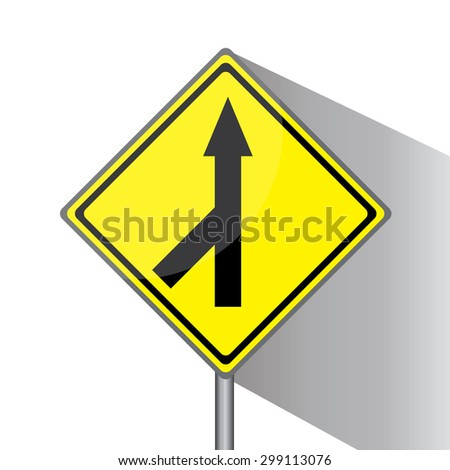 Yellow traffic square shaped Merging Lane Left type 1 sign with post on white background