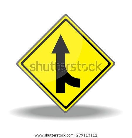 Yellow traffic square shaped Merging Lane Right type 2 sign on white background