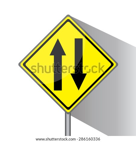 Yellow traffic square shaped Two-Way Traffic Ahead sign with post on white background