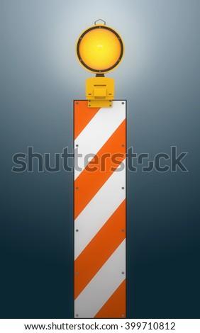 Yellow traffic warning lamp background. 3d rendering - stock photo