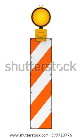 Yellow traffic warning lamp isolated on white with clipping path. 3d rendering - stock photo