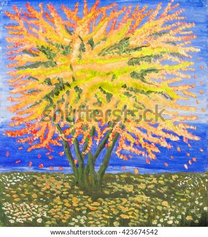 Yellow tree on sea shore, oil painting. - stock photo