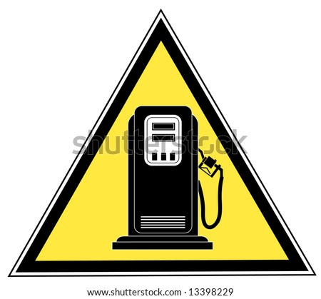 yellow triangle gas pump caution sign - stock photo