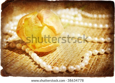 yellow tulip and pearls in retro style