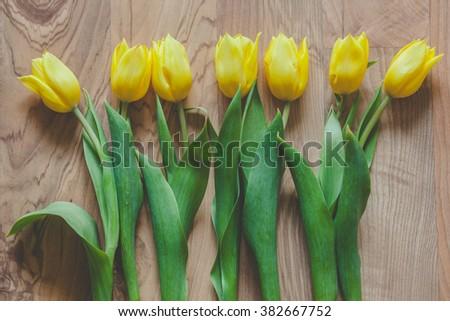 Yellow tulip flowers lying on a floor - stock photo