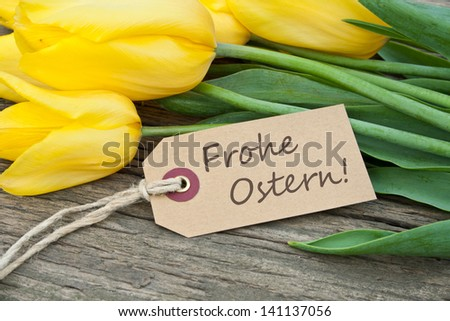 yellow tulips and easter card/tulips/easter