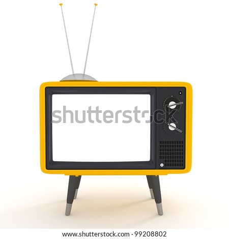 yellow TV - stock photo