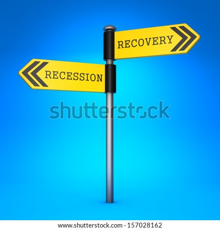 Yellow Two-Way Direction Sign with the Words Recession and Recovery on Blue Background. Concept of Choice.