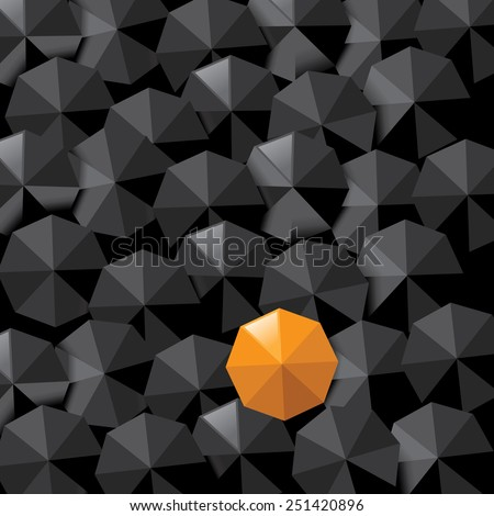 Yellow umbrella in sea of black background with space for copy.  royalty free stock illustration for ad, marketing, flyer, poster, blogs, to illustrate individuality, loneliness, overpopulation - stock photo