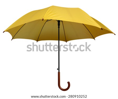 Yellow umbrella isolated on white background. Clipping path included. - stock photo