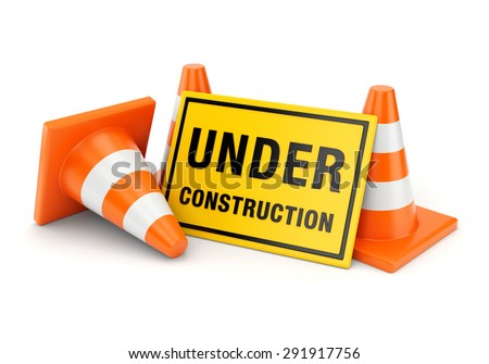 Yellow Under construction sign and three orange traffic cones isolated on white background - stock photo