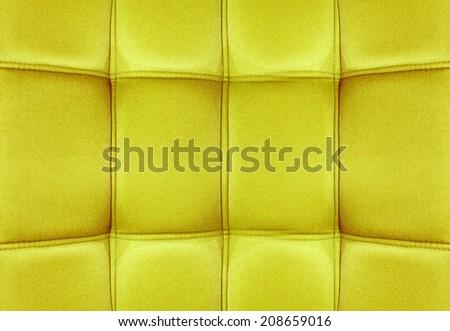 Yellow Velvet leather texture from sofa - stock photo