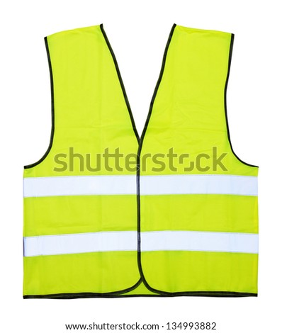Yellow vest isolated on the white background - stock photo